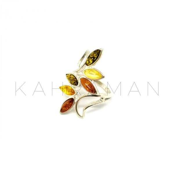 Ασημένιο δαχτυλίδι από 3 χρώματα κεχριμπαριού BA0009
