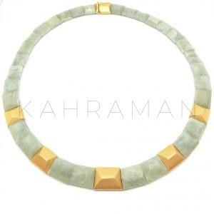 Χρυσό κολιέ άκουα μαρίνα BC0029