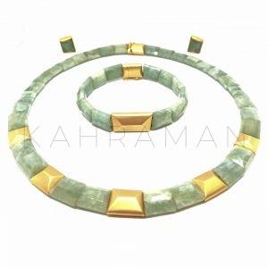 Σετ χρυσών κοσμημάτων με άκουα μαρίνα BI0007