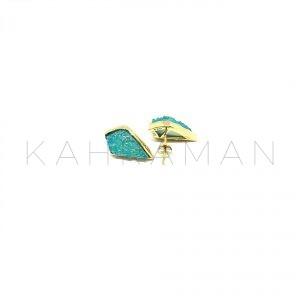 Ασημένια σκουλαρίκια με πράσινη druzy BD0036