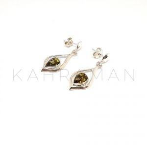 Ασημένια σκουλαρίκια με πρασινο κεχριμπάρι BD0072