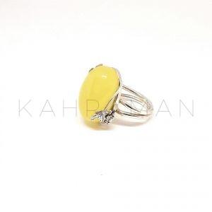 Χειροποίητο δαχτυλίδι με βασιλικό κεχριμπάρι BA0146