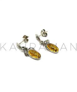 Ασημένια σκουλαρίκια με κεχριμπάρι BD0084
